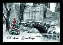 City Snow Day Holiday Cards